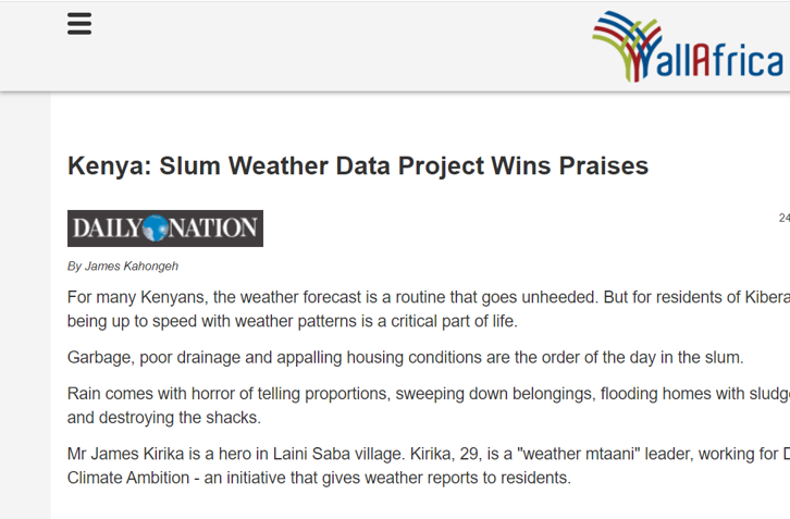 Kenya: Slum Weather Data Project Wins Praises