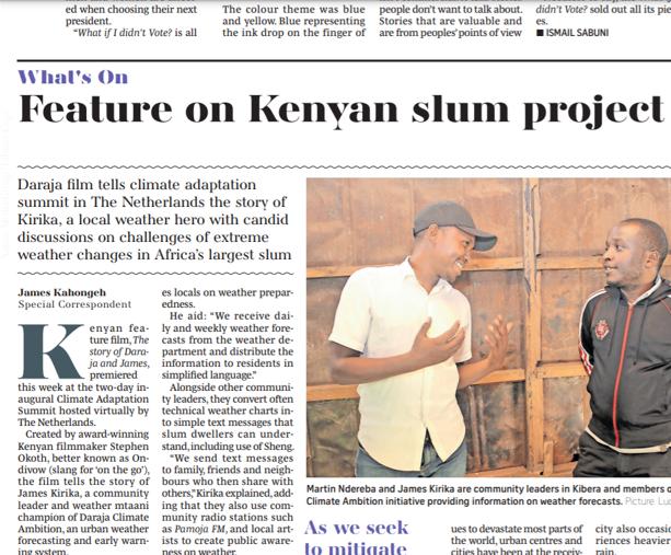 Feature on Kenyan slum project premiers